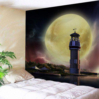 Moon Lighthouse Printed Wall Tapestry