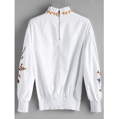 Ruffle Neck Smocked Flower Patched BlouseBlouses<br>Ruffle Neck Smocked Flower Patched Blouse<br><br>Collar: Ruff Collar<br>Embellishment: Patch Designs,Ruffles<br>Material: Polyester<br>Occasion: Casual<br>Package Contents: 1 x Blouse<br>Pattern Type: Floral<br>Shirt Length: Long<br>Sleeve Length: Full<br>Sleeve Type: Lantern Sleeve<br>Style: Casual<br>Weight: 0.2800kg