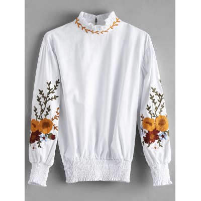 Ruffle Neck Smocked Flower Patched Blouse