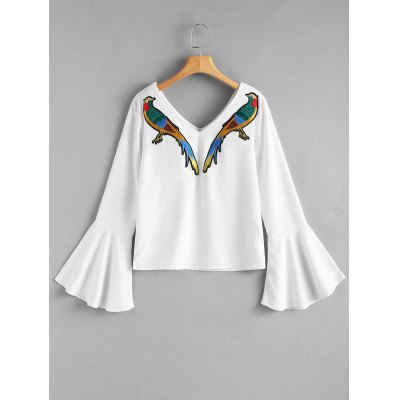 Bird Patched Bell Sleeve Blouse