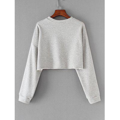 Graphic Raw Hem Cropped SweatshirtSweatshirts &amp; Hoodies<br>Graphic Raw Hem Cropped Sweatshirt<br><br>Clothing Style: Sweatshirt<br>Material: Polyester<br>Package Contents: 1 x Sweatshirt<br>Pattern Style: Letter<br>Shirt Length: Short<br>Sleeve Length: Full<br>Weight: 0.3300kg