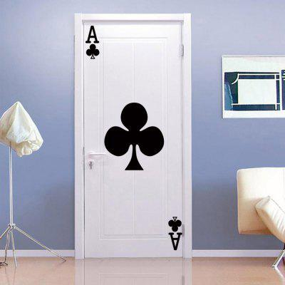 Ace of Clubs Pattern Removable Vinyl Wall Stickers