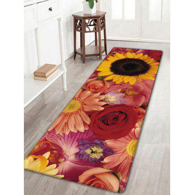 Flower Print Flannel Nonslip Bath Rug