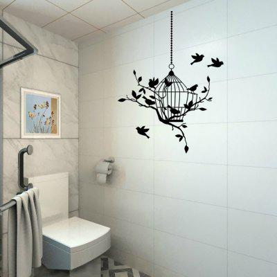 Birds Around Birdcage Pattern Vinyl Wall Stickers
