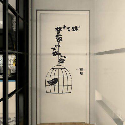 Bird In Birdcage Pattern Removable Vinyl Wall Stickers