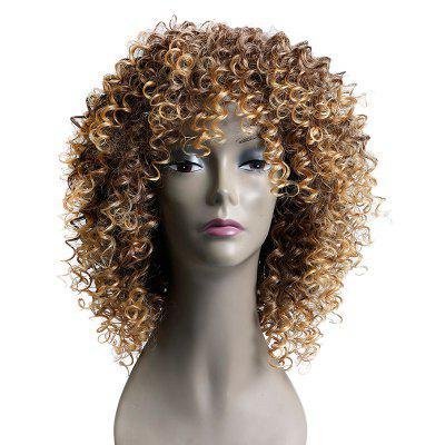 Medium Colormix Side Bang Kinky Curly Synthetic Wig