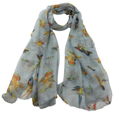 Simple Flying Birds Pattern Silky Long Scarf