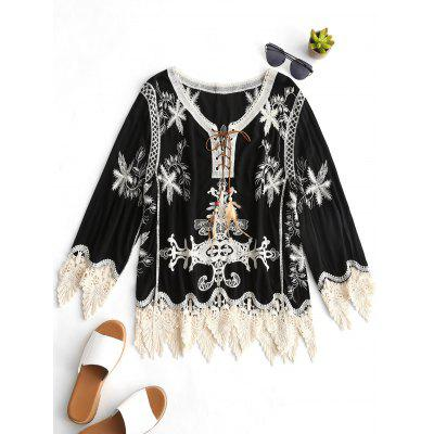Lace Up Crochet Insert Embroidered Blouse