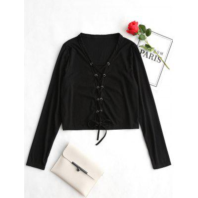 Long Sleeve Lace Up Ribbed Tee