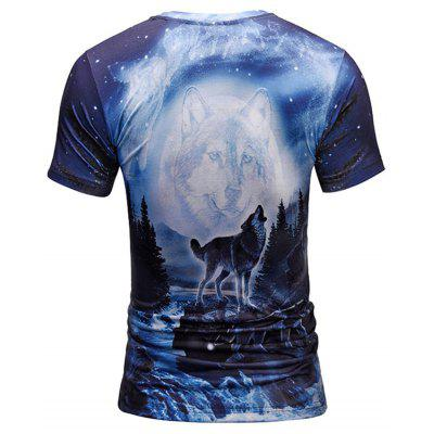 Wolf Print Crew Neck TeeMens Short Sleeve Tees<br>Wolf Print Crew Neck Tee<br><br>Collar: Crew Neck<br>Material: Polyester<br>Package Contents: 1 x Tee<br>Pattern Type: Animal<br>Sleeve Length: Short<br>Style: Casual<br>Weight: 0.2700kg