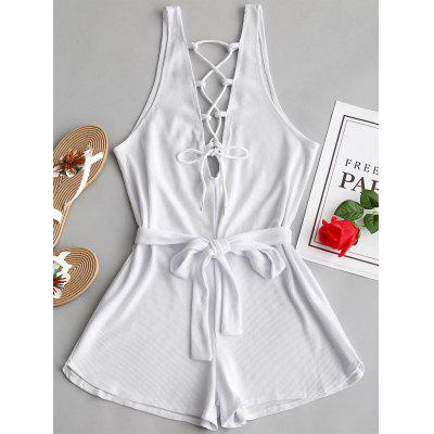 Lace Up Open Back Belted Romper
