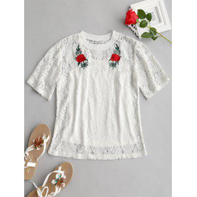 Floral Lace Blouse with Cami Top Set