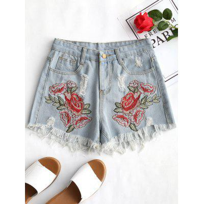 Ripped Flower Embroidered Frayed Denim Shorts