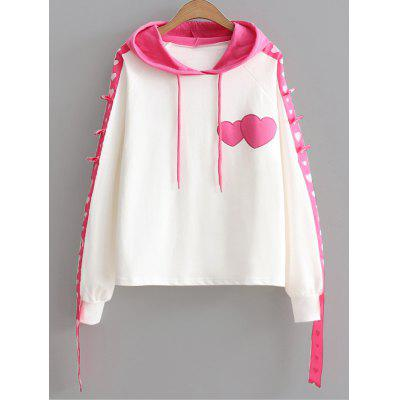 Heart Color Block Ribbon Hoodie