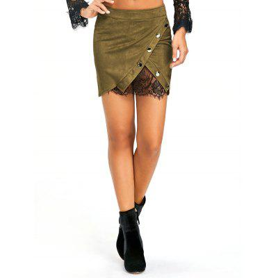 Lace Insert Buttoned Mini Skirt