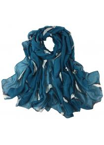 Cute Dolphin Pattern Embellished Silky Long Scarf