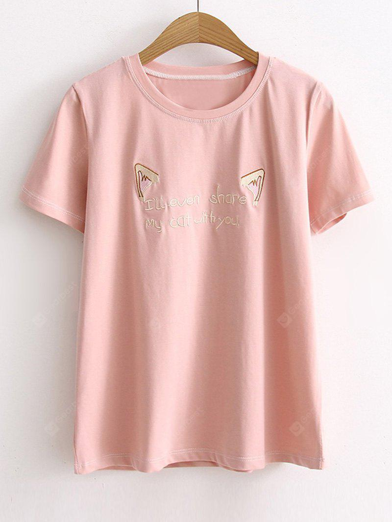 Cartoon Letter Embroidered Tee