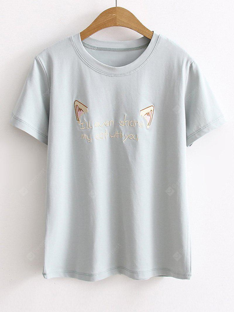 T-shirt Con Ricamo Di Lettere In Cartoon