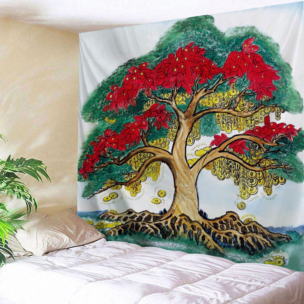 Gold Coin Tree Print Wall Hanging Tapestry