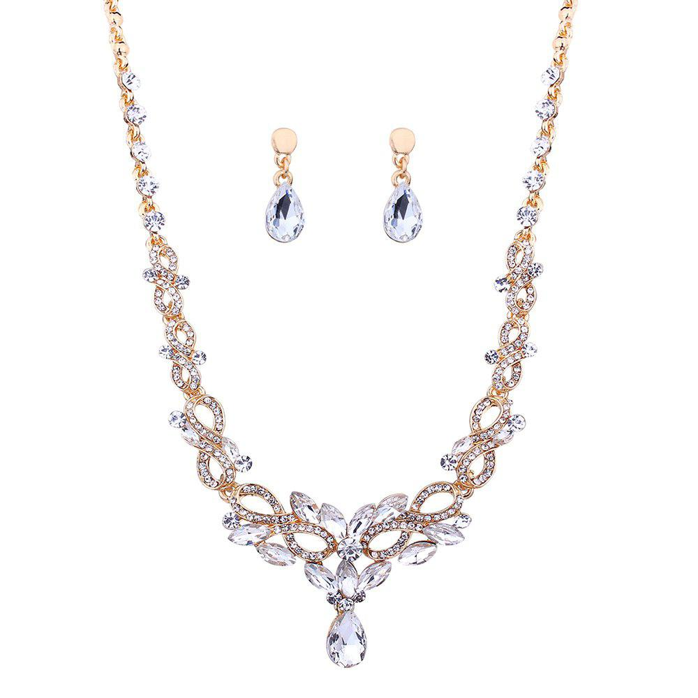Faux Diamond Hollow Out Party Necklace and Earrings Set
