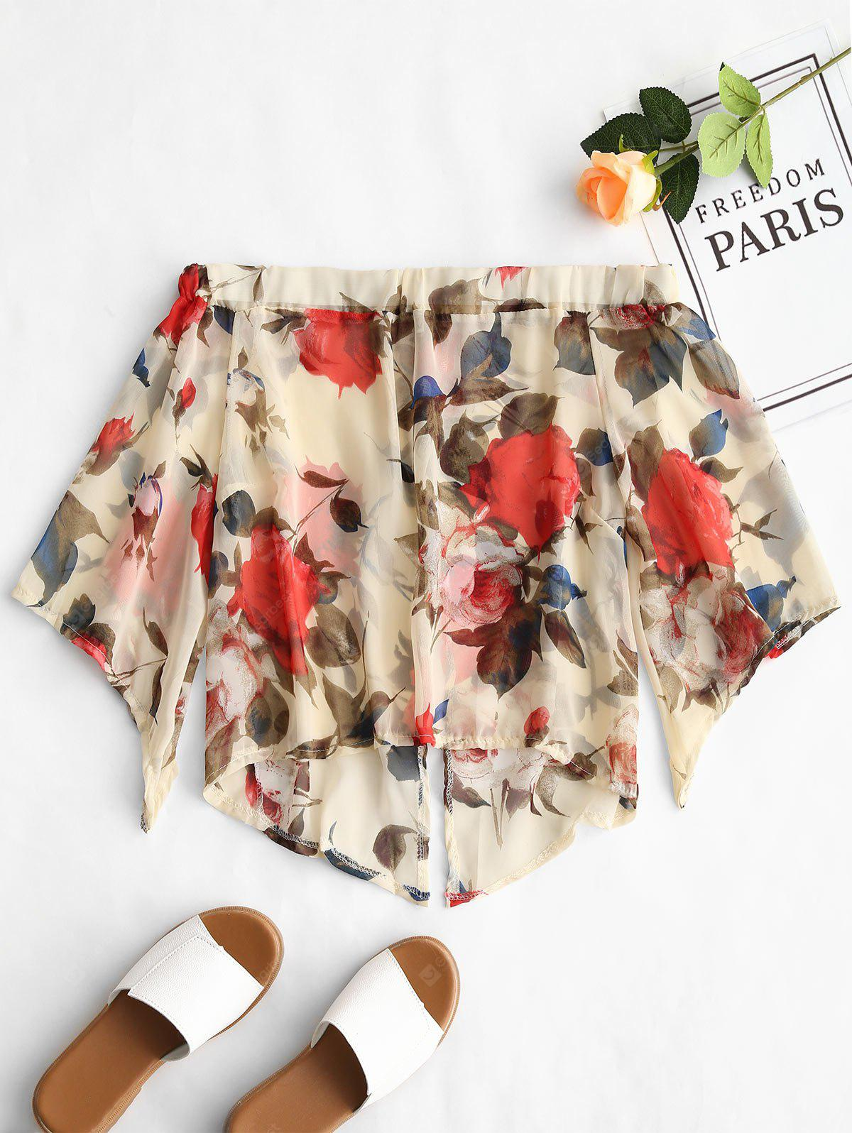 Off Shoulder Semi Sheer Flower Blouse