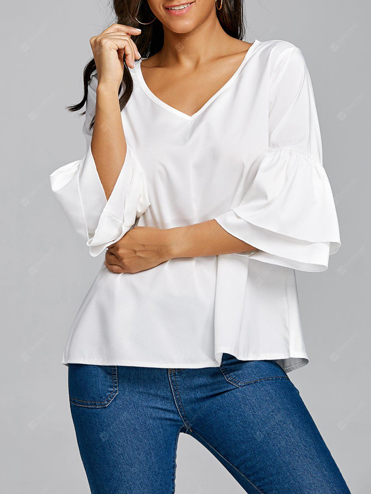 V Neck Flare Sleeve Top