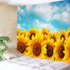 Wall Hanging Sunflowers Print Tapestry - AZUL E AMARELO