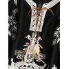 Lace Up Crochet Insert Embroidered Blouse - BLACK