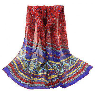 Ethnic Style Pattern Embellished Silky Long Scarf