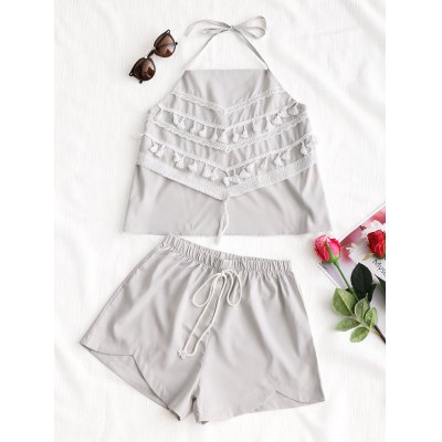 Tassels Halter Top with Shorts Set