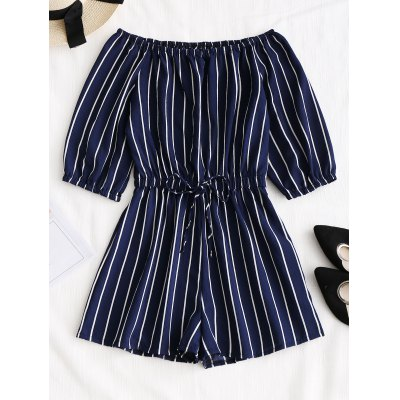 Buy PURPLISH BLUE L Tied Bowknot Off Shoulder Striped Romper for $22.64 in GearBest store