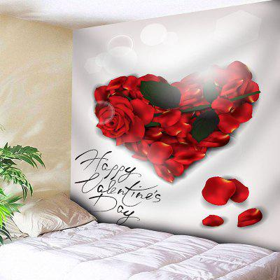 Valentine's Day Rose Heart Printed  Wall Art Tapestry