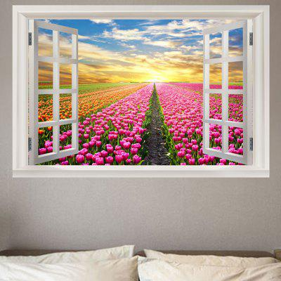 Decorative Tulips Garden Printed Wall Sticker