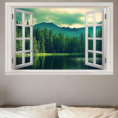 Lakeside Forest Mountains Printed Wall Sticker