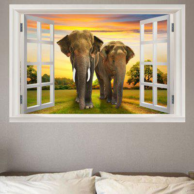 Window Elephants Printed Removable Wall Sticker
