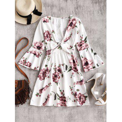 Plunging Neck Bell Sleeve Floral Dress