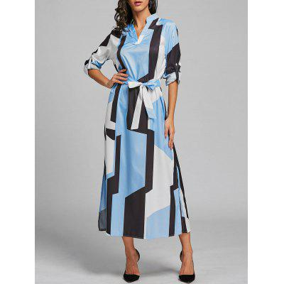 Geometry Color Block Midi Dress