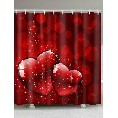 Starlight Heart Print Valentine's Day Waterproof Bath Shower Curtain