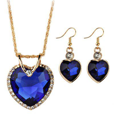Faux Jewelry Heart Shape Pendant Necklace and Drop Earrings Suit