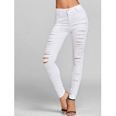 Distressed Skinny Jeans with Pockets