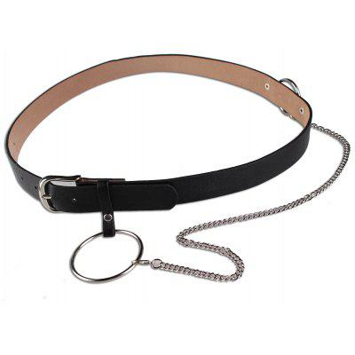 Pin Buckle Large Hoop Chain Wide Belt