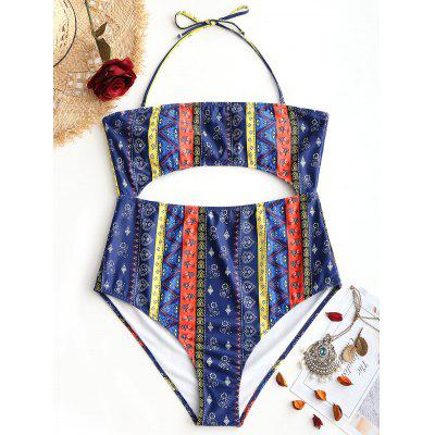 Plus Size Cut Out Tribe Print Swimwear