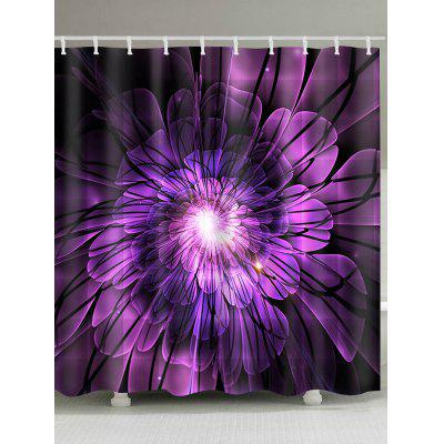 Big Flower Print Polyester Waterproof Shower Curtain