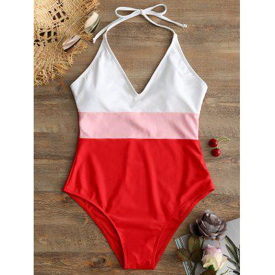 One Piece Backless Color Block Swimsuit