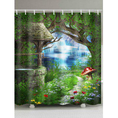 Path In Forest Print Waterproof Fabric Shower Curtain