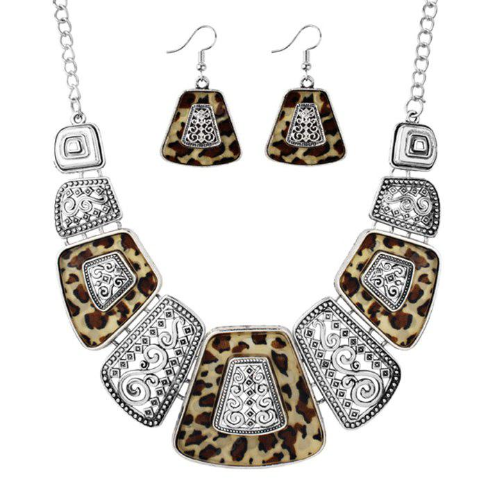 Exaggerated Leopard Vintage Pendant Necklace and Drop Earrings Set