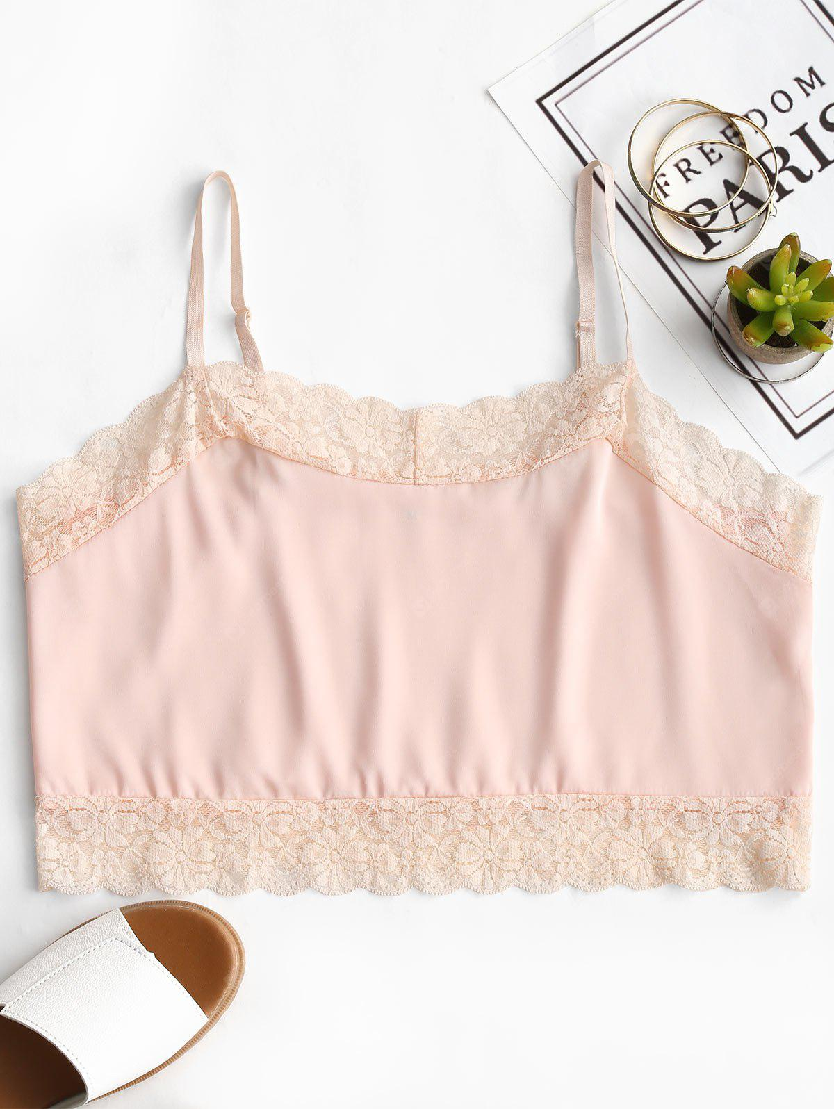 Lace Panel Cropped Cami Top