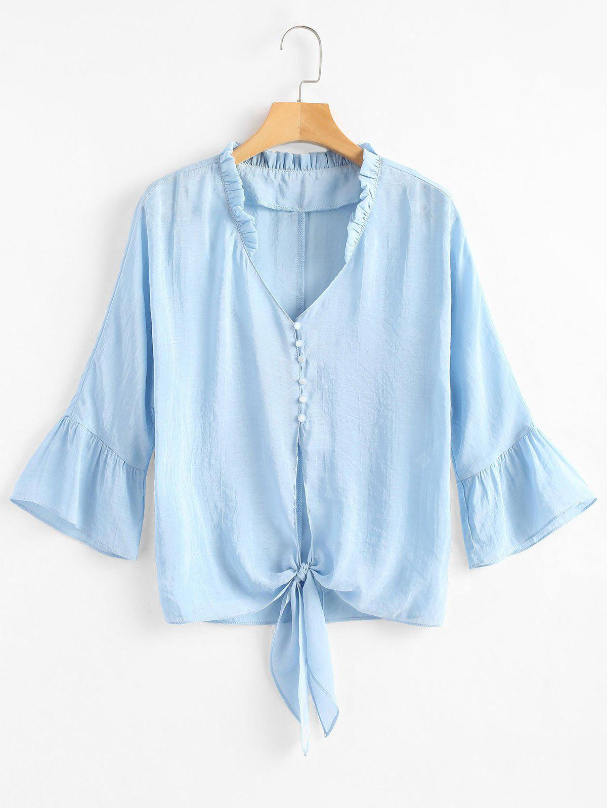Ruffle Collar Half Button Tie Front Shirt