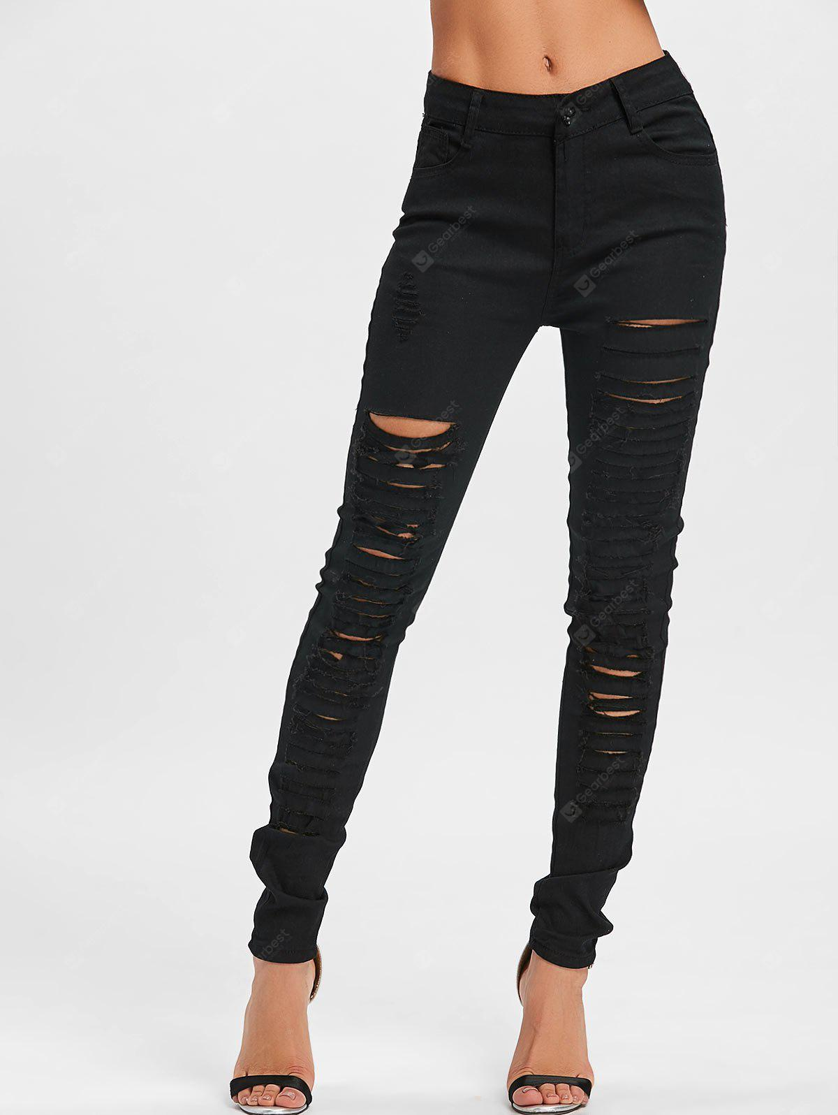 Distressed Skinny Pants with Pockets