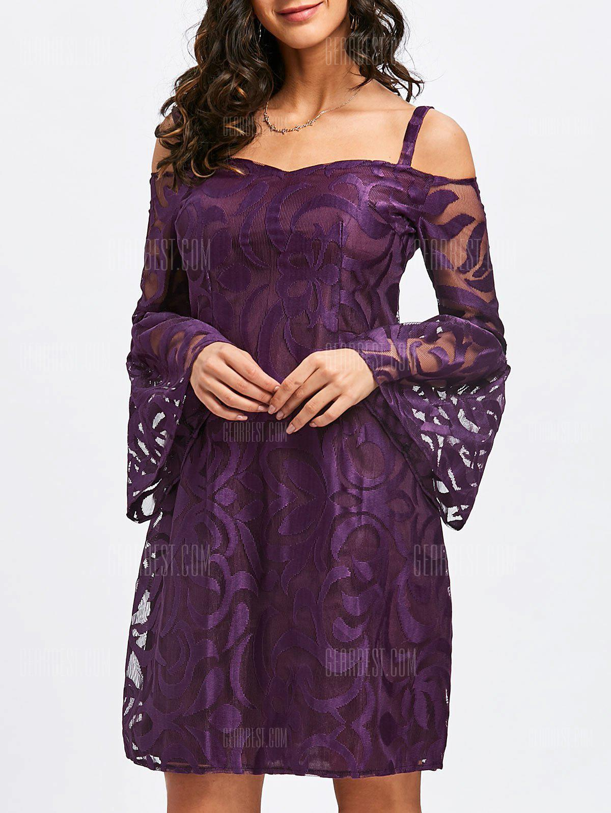 Bell Sleeve Cold Shoulder Lace Bodycon Dress